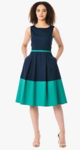 vestido de mujer sin mangas de dos tonos