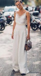 pantalones de damas blancas